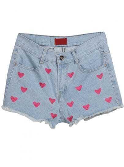 Light Blue Pockets Hearts Print Fringe Denim Shorts