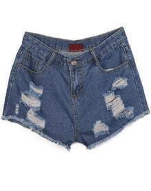 Navy Pockets Ripped Fringe Denim Shorts