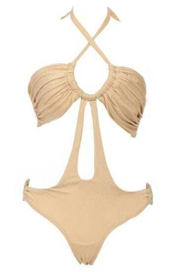 Apricot Ruched U Toggle Cut Out One-piece