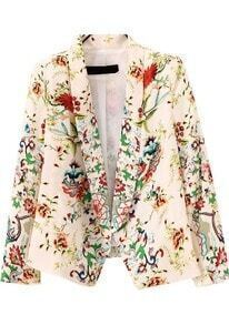 Beige Lapel Long Sleeve Floral Crop Blazers