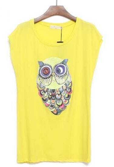 Yellow Sleeveless Owl Print Loose T-Shirt