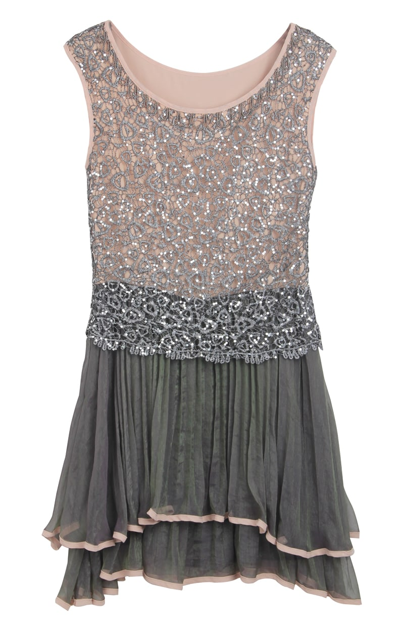 grey sleeveless sequined pleated bead dress shein sheinside