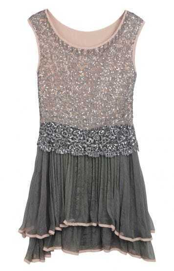 Grey Sleeveless Sequined Pleated Bead Dress
