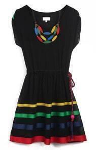 Black Short Sleeve Drawstring Waist Striped Dress