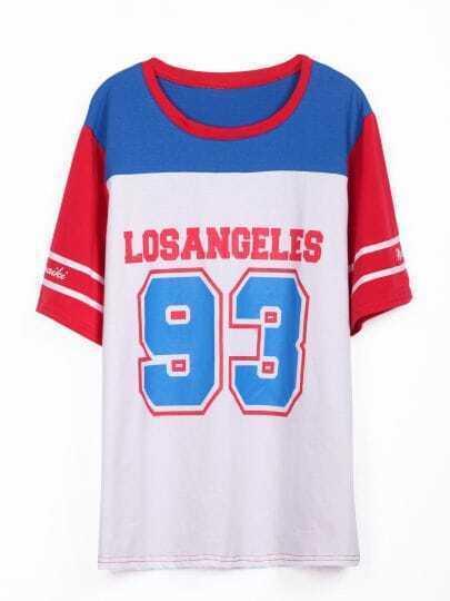 Blue White Short Sleeve LOSANGELES 93 Print T-Shirt
