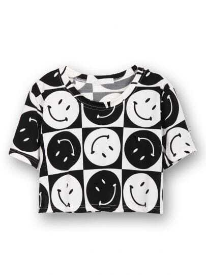 Black Short Sleeve Smile Print Crop T-Shirt