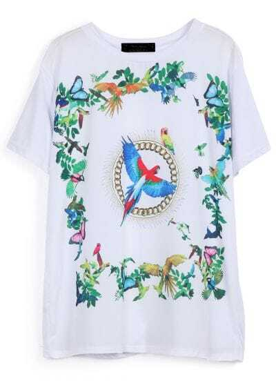 White Short Sleeve Birds Print Loose T-Shirt