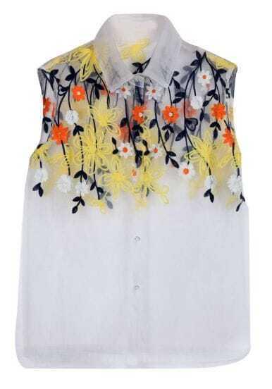 White Sleeveless Embroidery Mesh Yoke Blouse
