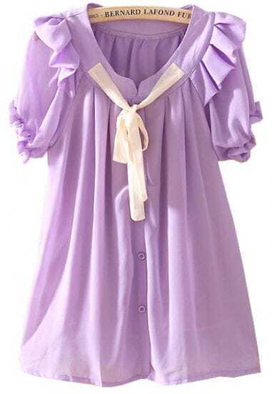 Purple Short Sleeve Bow Ruffles Chiffon Blouse