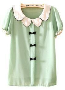 Green Lapel Short Sleeve Bow Chiffon Blouse