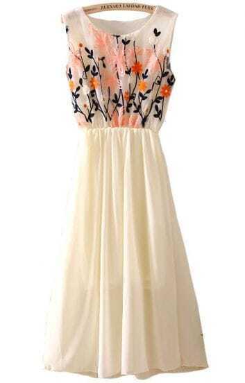 Apricot Sleeveless Embroidery Pleated Chiffon Dress
