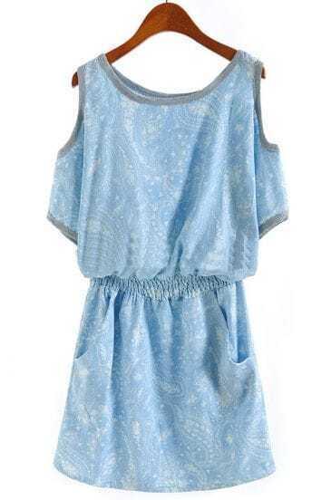 Blue Off the Shoulder Bandeau Floral Dress
