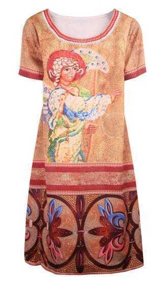 Khaki Short Sleeve Retro Pharaoh Print Dress