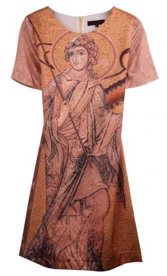 Khaki Short Sleeve Portrait Painting Print Dress