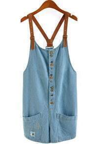 Blue Criss Cross Buttons Pockets Denim Jumpsuits
