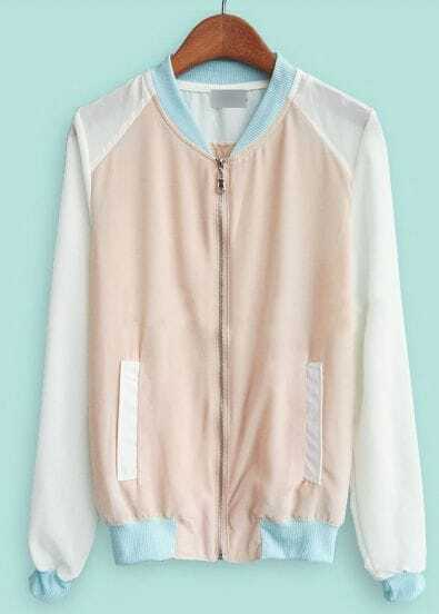 Pink Stand Collar Long Sleeve Zipper Pockets Jacket