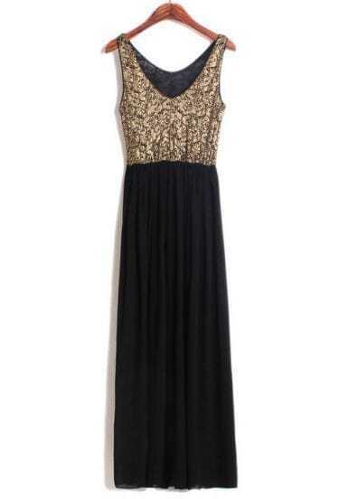 Black Sleeveless Backless Embroidery Chiffon Dress