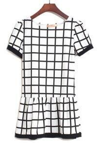 White Black Short Sleeve Plaid Ruffles Dress