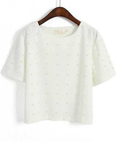 White Short Sleeve Bead Batwing Crop T-Shirt