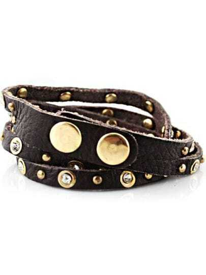 Black Rivet Crystal Leather Bracelet