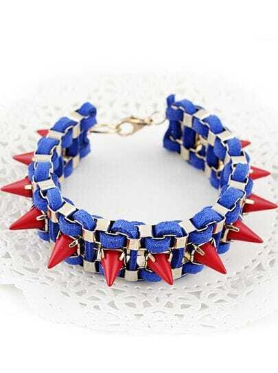 Blue Red Rivet Bracelet