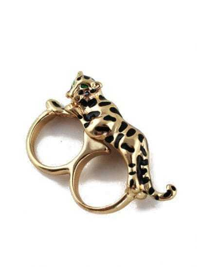 Gold Leopard Two Fingers Ring