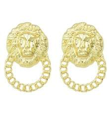 Gold Lion Chain Earrings