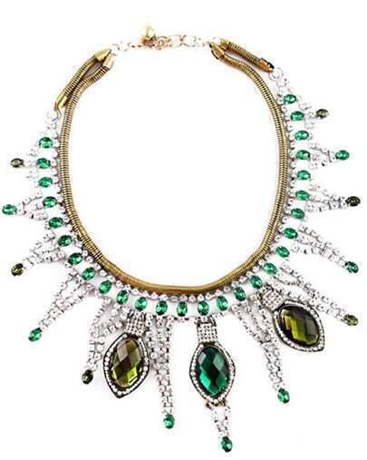 Green Gemstone Silver Crystal Tassel Necklace