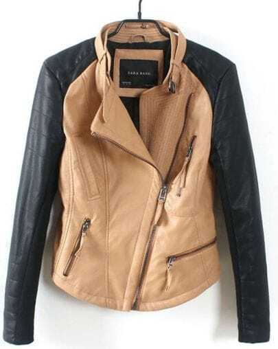 Khaki Contrast Long Sleeve Zipper PU Jacket