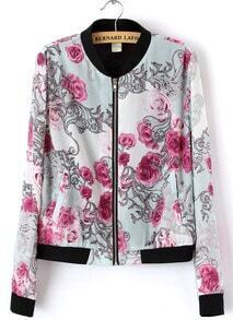 White Stand Collar Long Sleeve Floral Zipper Jacket