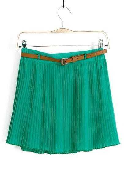 Green Belt Pleated Chiffon Skirt