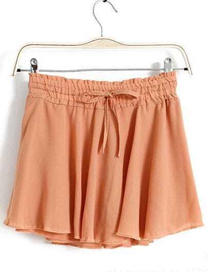 Pink Drawstring Waist Chiffon Skirts