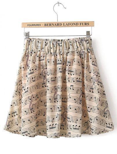 Apricot Elastic Waist Note Print Chiffon Skirt