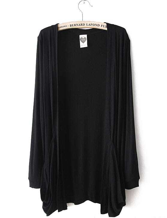 Black Long Sleeve Pockets Cardigan Sweater -SheIn(Sheinside)