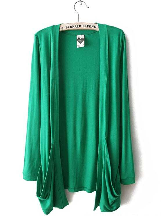 Green Long Sleeve Pockets Cardigan Sweater -SheIn(Sheinside)