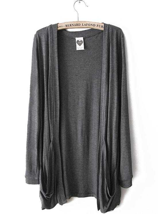 Dark Grey Long Sleeve Pockets Cardigan Sweater -SheIn(Sheinside)