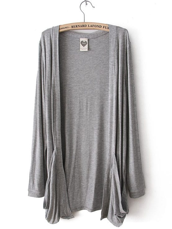 Light Grey Long Sleeve Pockets Cardigan Sweater -SheIn(Sheinside)
