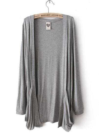 Light Grey Long Sleeve Pockets Cardigan Sweater