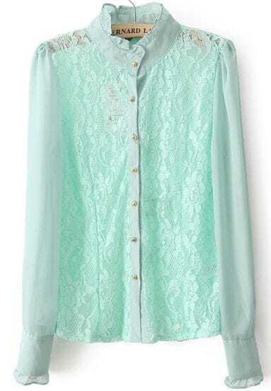 Light Blue Stand Collar Long Sleeve Lace Blouse