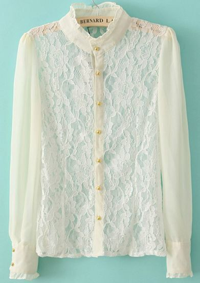 White Stand Collar Long Sleeve Lace Blouse