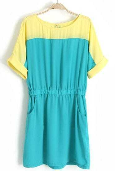Blue Short Sleeve Pockets Bandeau Chiffon Dress
