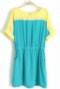 Blue Short Sleeve Pockets Bandeau Chiffon Dress