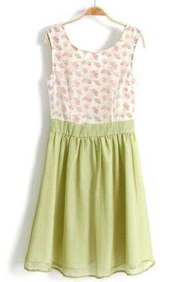 Light Green Sleeveless Floral Pleated Chiffon Dress