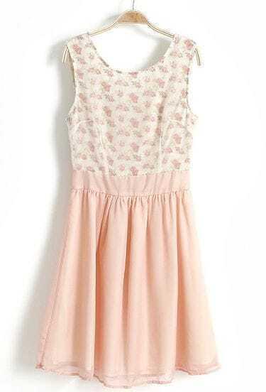 Light Pink Sleeveless Floral Pleated Chiffon Dress
