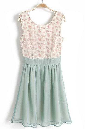 Light Blue Sleeveless Floral Pleated Chiffon Dress