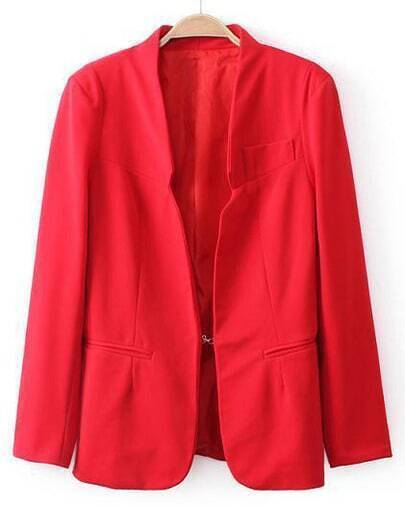 Red Long Sleeve Shoulder Pads Pockets Blazers