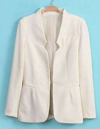 White Long Sleeve Shoulder Pads Pockets Blazers -SheIn ...