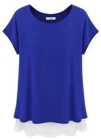 Blue Short Sleeve Ruffles Loose Chiffon T-Shirt