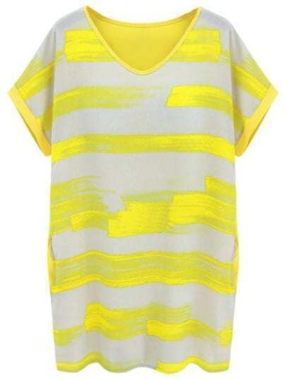 Yellow Short Sleeve Striped Loose Dress
