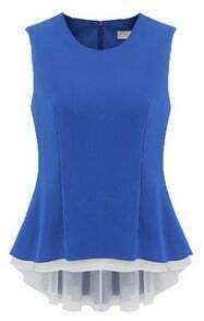 Blue Sleeveless Back Zipper Ruffles Pleated Blouse